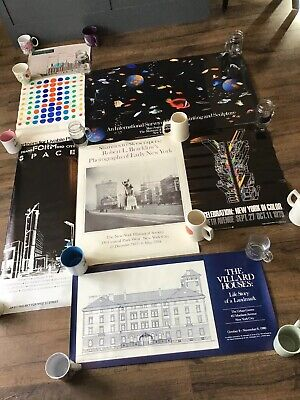 New York City Vintage Poster Lot 1970s 1980s Exhibition Skyscrapers -