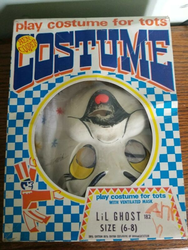 VINTAGE HALLOWEEN LIL GHOST COSTUME BY BEN COOPER W/ ORIGINAL BOX