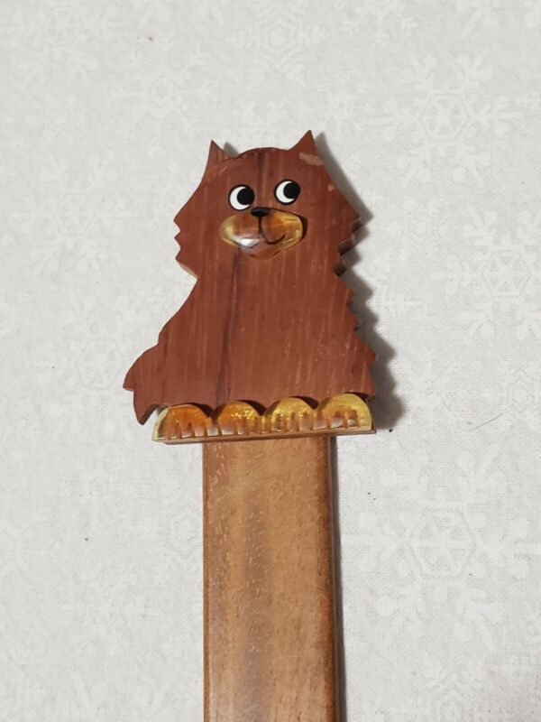 Handmade Wood Wooden Bookmark Dog eyes 3D type paws feet puppy smiling