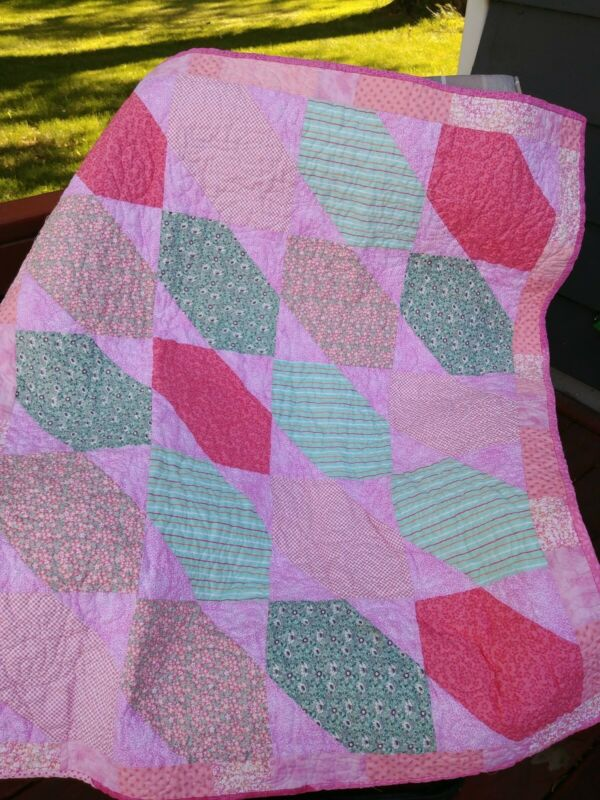 Baby girl quilt handmade pink and teal