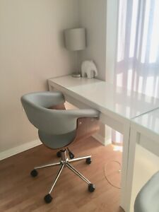 White glass top desk & grey swivel office chair