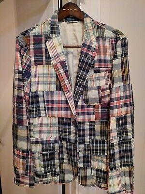 Polo Ralph Lauren Men's MADRAS PATCH Plaid Blazer Sport Suit Coat Jacket 40R Custom Fit Three Button Suit
