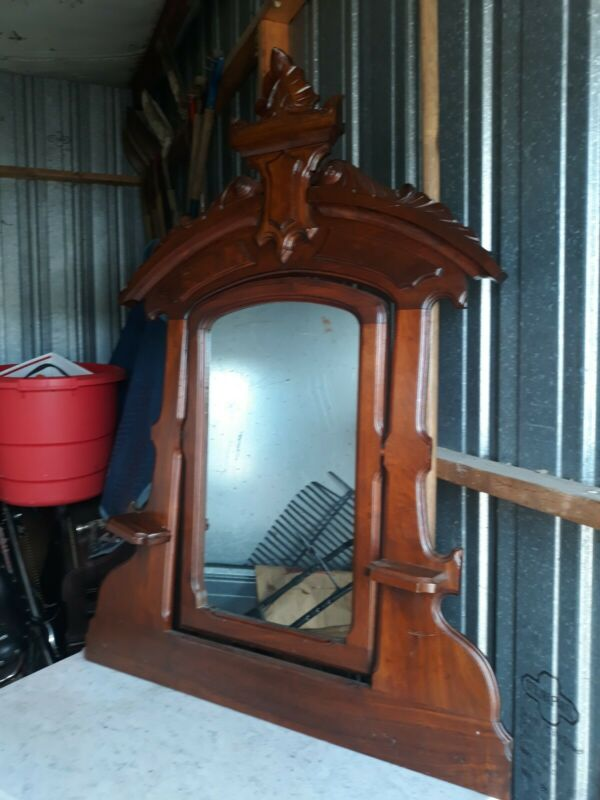 ANTIQUE VICTORIAN MARBLE TOP DRESSER WITH LG CARVED MIRROR