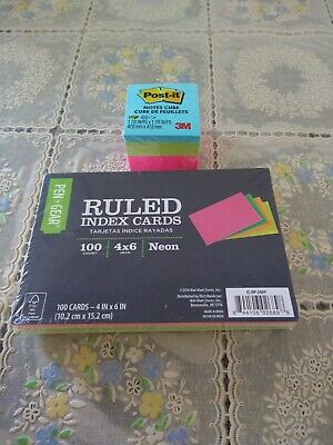 Universal Ruled Neon Glow Index Cards 4 X 6 Assorted 100pack Cube Notes Pack