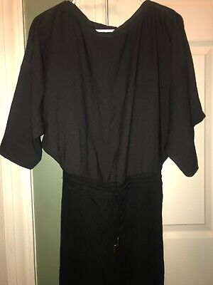 NEW Zara Black Open Back Drawstring Jumpsuit Small for sale  Monmouth Junction