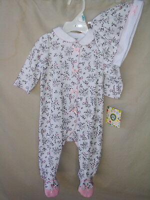 LITTLE ME 100% Cotton White Print BIRD TOILE Footie w/Matching Hat  NWT