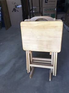Wooden  TV tray set with stand $20 OBO