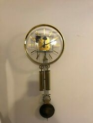 Howard Miller George Nelson Lucidity Brass Hanging Wall Clock MCM  Lucite