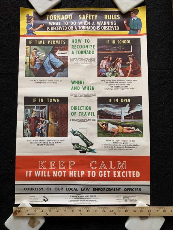 Tornado Safety Rules - Child Safety Council Law Enforcement Poster 1960