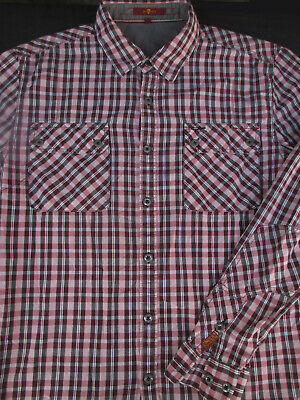 7 for all Mankind Mens Button Front Long Sleeve Cotton Plaid Shirt Large L 7 For All Mankind Shirts
