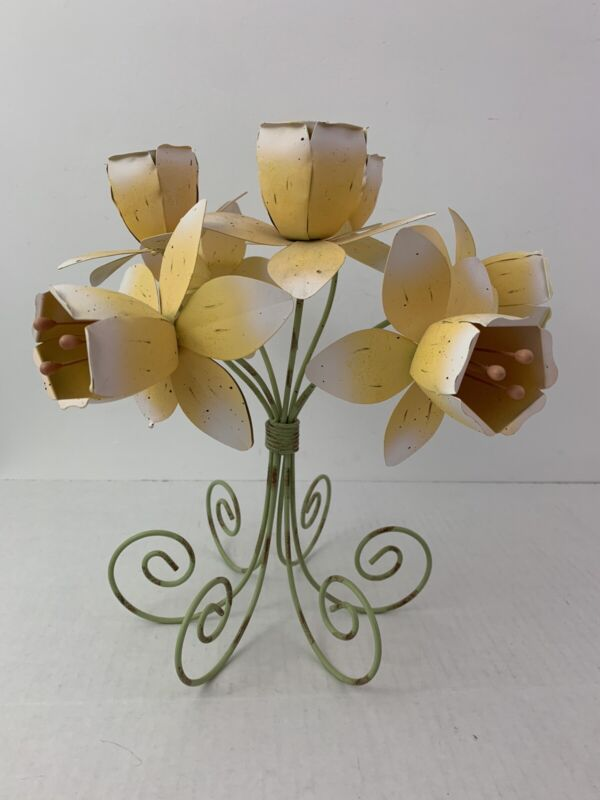 Vintage METAL TOLE Tea light CANDLE Holder Yellow Flowers SHABBY CHIC Tabletop