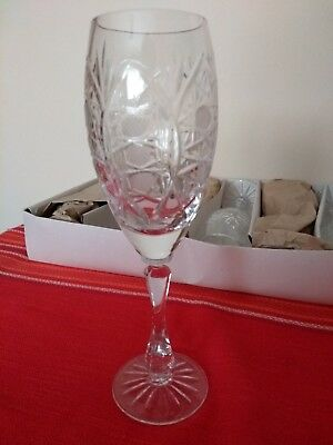 VINTAGE RUSSIAN 1980th SET OF 6 LEAD CRYSTAL GLASS CHAMPAGNE FLUTES ORIGINAL BOX