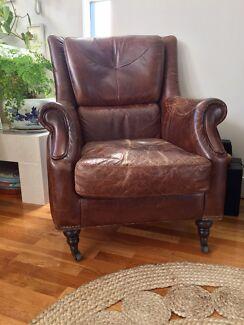 Vintage Italian Leather Arm Chair