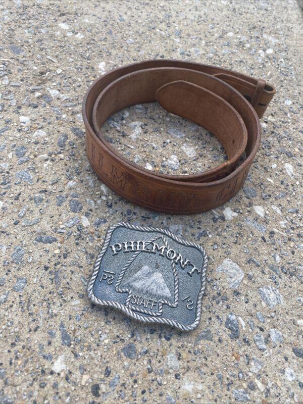 Vintage Philmont Cimarron NM Leather Belt & Brass Buckle Boy Scouts Size 34