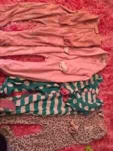 4 fleece sleepers for girls, night suits, 2T