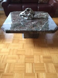 Marble coffee table and 2 end tables