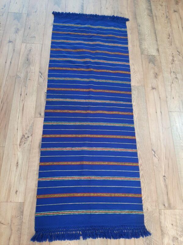 Vintage Cobalt Blue Poland Polish Folk Wool Woven Hanging Rug Tapestry Runner