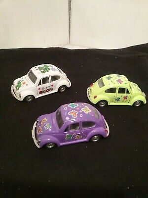 Volkswagen Funny Beetle Die Cast Pull Back and Go Car - lot of 3
