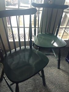 Pair Wooden CHAIRS, dark green, great condition, both for $10