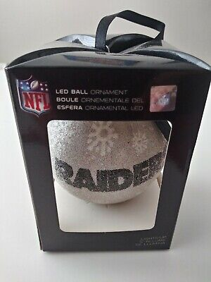 Oakland Raiders NFL LED Light Up Christmas  Ball  Ornament - New in Box ()