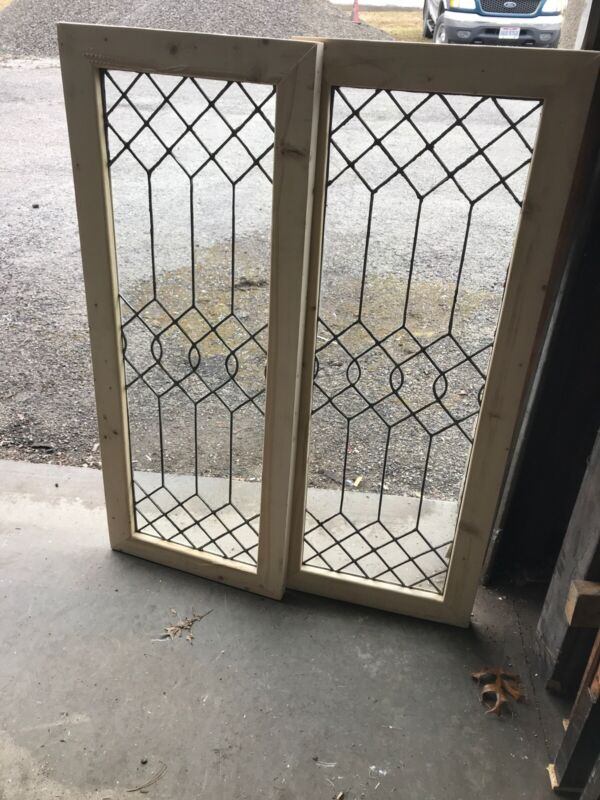 MK 2 2 AVAILABLE price each antique leaded glass window 19 x 48