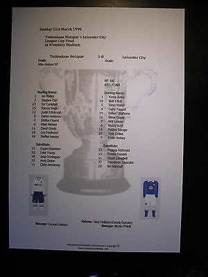 1999 League Cup Final Tottenham Hotspur v Leicester City matchsheet