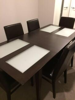 Hardwood Table with Glass Panels