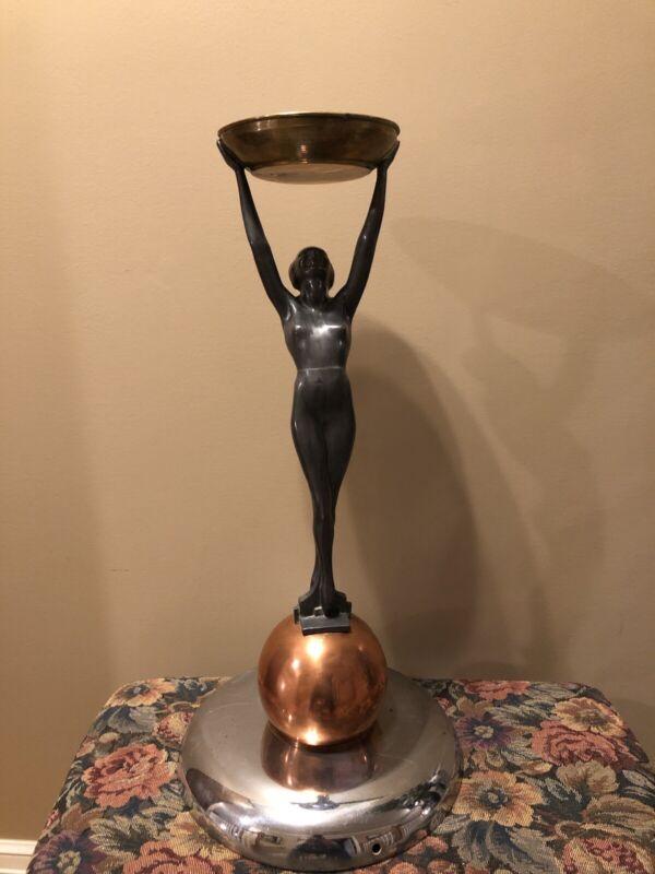 "Large Vintage Art Deco Nude Woman Smoking Stand Ashtray 24"" Tall"