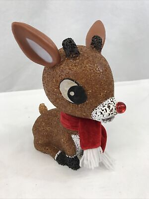"Vintage Light Up Rudolph 11""Color Changing  Popcorn Plastic Battery Operated EUC"