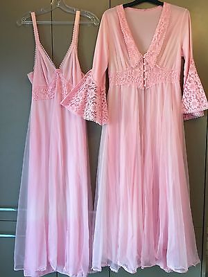 Vintage 50s / 60s Pink Double Nylon Nightdress & Negligee Set Sissy Lingerie