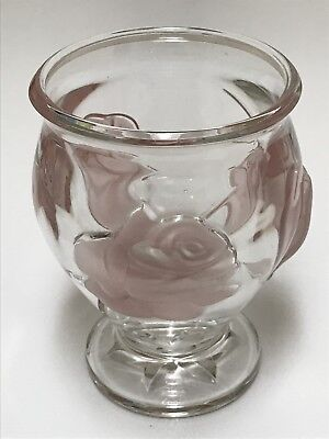Teleflora Clear Glass Vase With Pink Frosted Embossed Roses