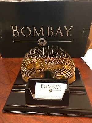 Bombay Wooden Business Card Holder With Slinky. New In The Box