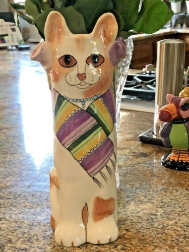"Susan Paley STELLA Cat Vase Bella Casa by Ganz 11"""
