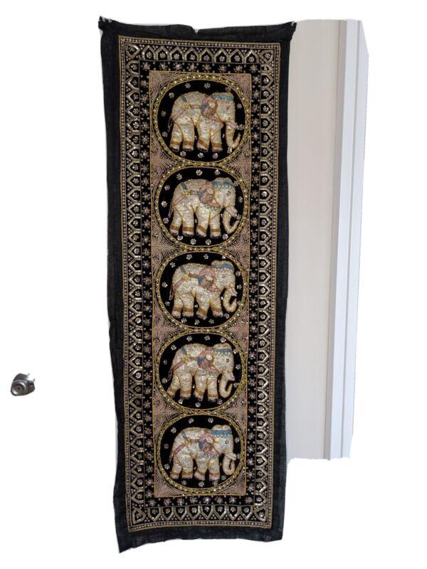 Vintage Beaded Elephant Tapestry Kalaga