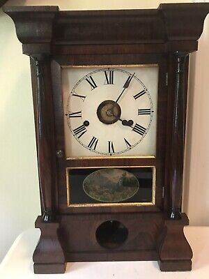Antique Seth Thomas Alarm Mantle Gong Clock Hand Painted Door with Key