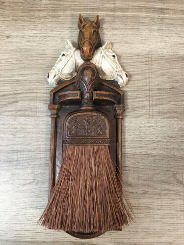 Vintage Swank Broom Holder, Resin Three Horses Head & Horseshoe, Small Broom