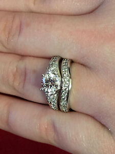 Beautiful 925 Sterling Silver Diamond Ring Set Size N * Engagement * Bridal Set