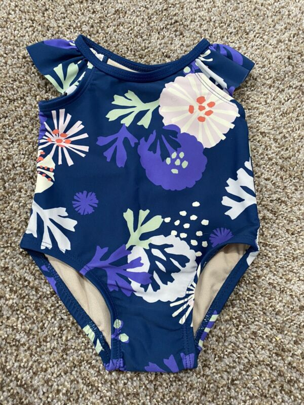 NWT! Baby Girl's Tea Collection Swim Suit Size 3-6 Months Flowers