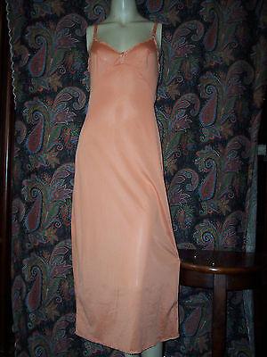 Vintage OLGA Orange Nylon Formal length Empire Slip Nighty Lingerie 32