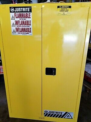 Justrite Galvanized Steel Flammable Safety Cabinet 45 Gal. 894520 Yellow