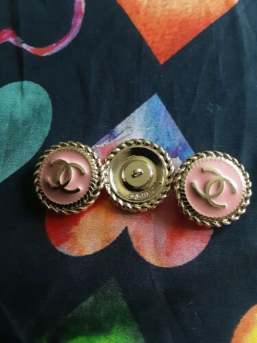 STAMPED VINTAGE CHANEL BUTTONS LOT OF 3 THREE  pink