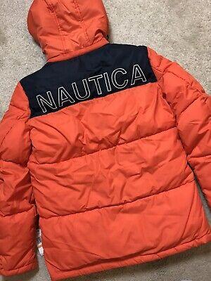 NAUTICA Colour Block Hooded Puffer Coat Orange (Size S) Rep £125