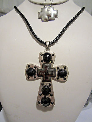 Black Lucite Bead Big Silver Tone Cross Braided Black Cord Necklace earring (Set Silver Tone Cross)