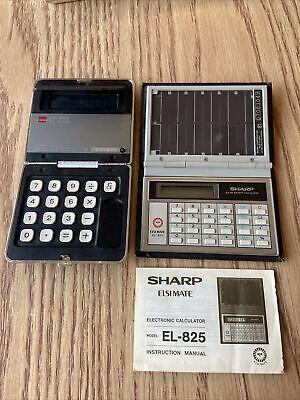 Vintage Sharp Solar Cell Calculator Elsi Mate EL-825 EL-8009 Untested Lot Of Teo
