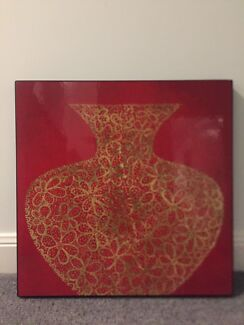 Wanted: Red + Golden Flowers Vase Painting ( 75x75cm)