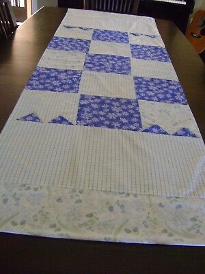 "Hand M.CHIC Blue White snowflakes Berrys PATCHWORK TABLE DRESSER RUNNER 68""x 23"""