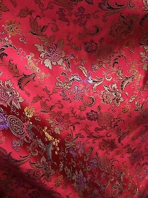RED MULTICOLOR METALLIC FLORAL BROCADE FABRIC (60 in.) Sold By The Yard](Red Brocade)