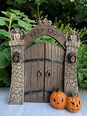 Miniature Dollhouse FAIRY GARDEN ~ Mini HALLOWEEN Resin KEEP OUT Gate w Pumpkins