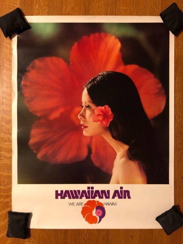 Hawaiian Air Vintage Poster Airline Aviation Hawaii Travel Ad w/ Island Girl