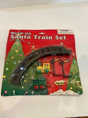 Wind Up Merry Christmas Train Set 2 cars& 4 pc Circle Track New Stocking Stuffer